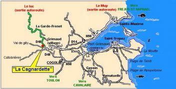 Situation de la Cagnardette dans le golfe de Saint-Tropez