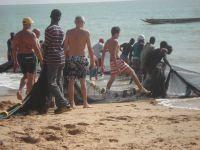 les pêcheurs tirant leur filet sur la plage
