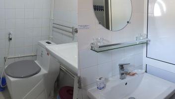 Salle de bain et toilettes propres et soigneusement entretenues.