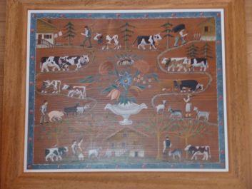 peinture sur bois  dite poya , réalisée par Marie